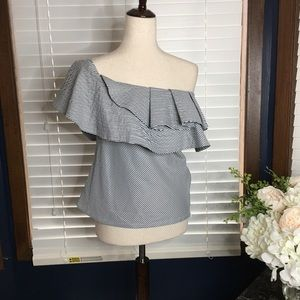 Do & Be Gray White One Shoulder Blouse Small